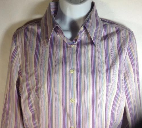 Thomas Pink Dress Shirt 12 Womens Fitted 3 Button Cuff Career Blouse Stripe Pnk