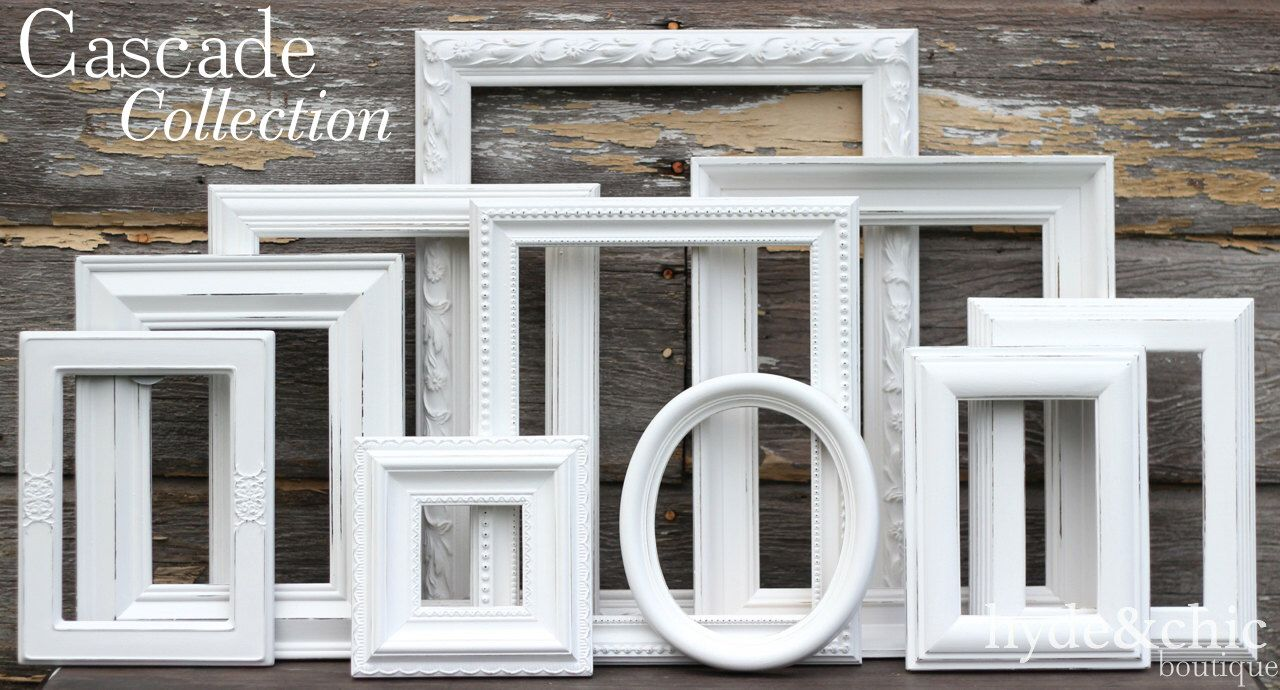 White Shabby Chic Picture Frames / Shabby Chic Home Decor / Upcycled ...