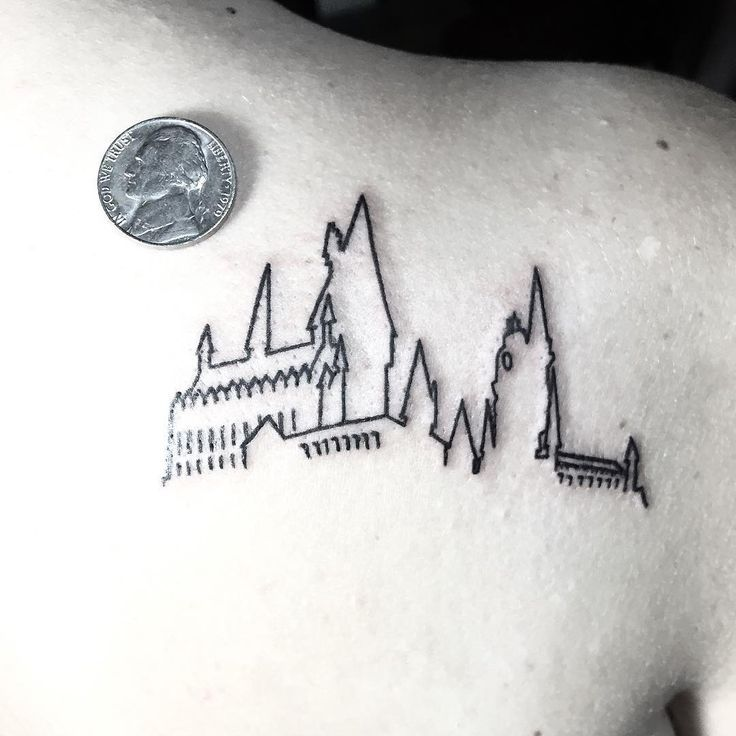 Small Hogwarts Outline For You Potter Fans Thanks For Looking Harry Potter Tattoo Small Small Tattoos Hogwarts Tattoo