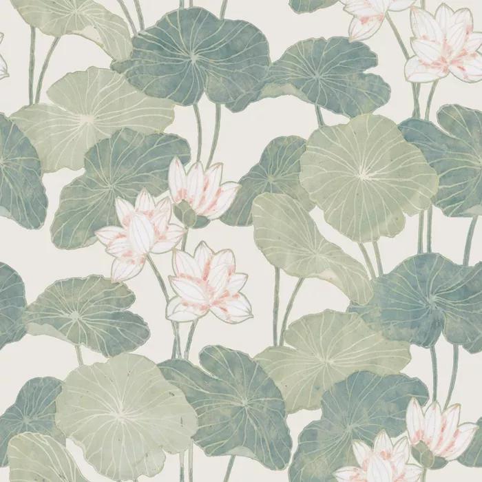 Roommates Lily Pads Peel Stick Wallpaper Cream Green Lily Pads Peel And Stick Wallpaper Wallpaper Roll