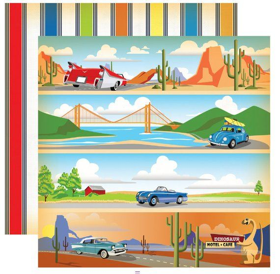 Cars Cartopia Collection Scrapbooking 6x6 Paper Pad 24 Sheet Carta Bella New