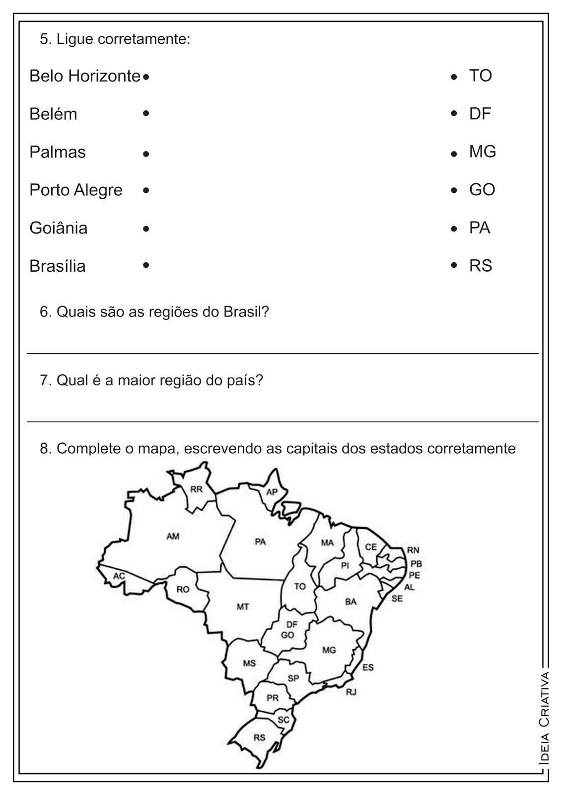 Extremamente Atividades Estados Capitais e Regiões do Brasil Geografia  TN06