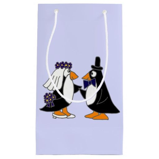 Funny Penguin Bride and Groom Gift Bag Medium Gift Bag