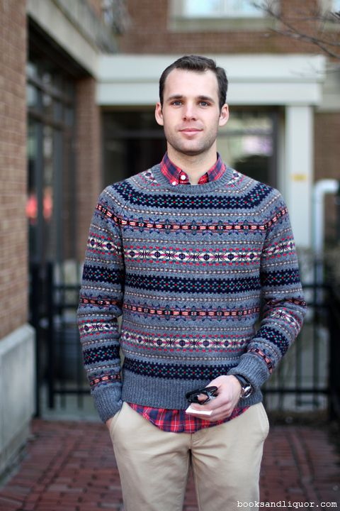 This male student wore a black grey and red fair isle patterned ...