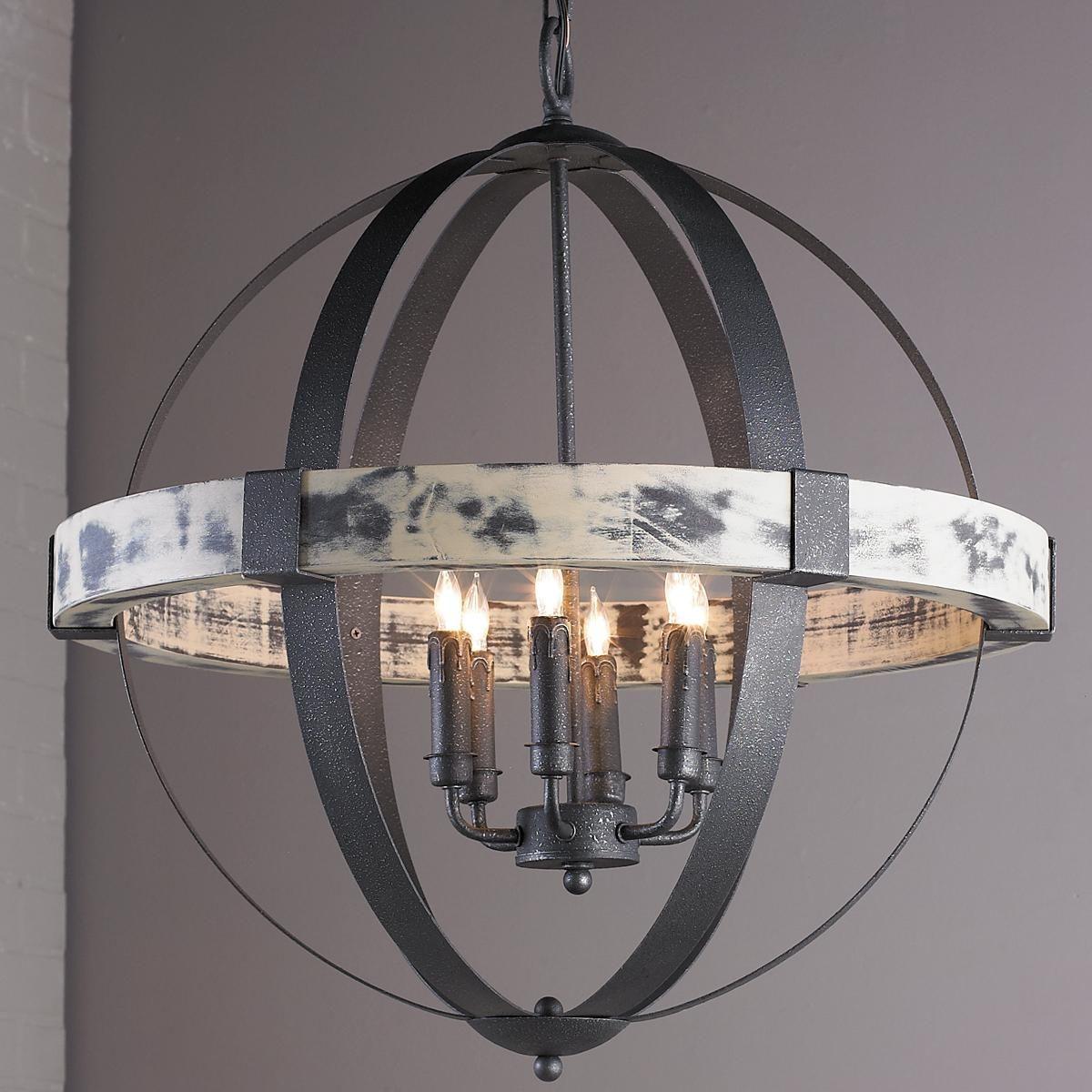 Aspen Wrought Iron Globe Chandelier 6 Light Globe Chandelier