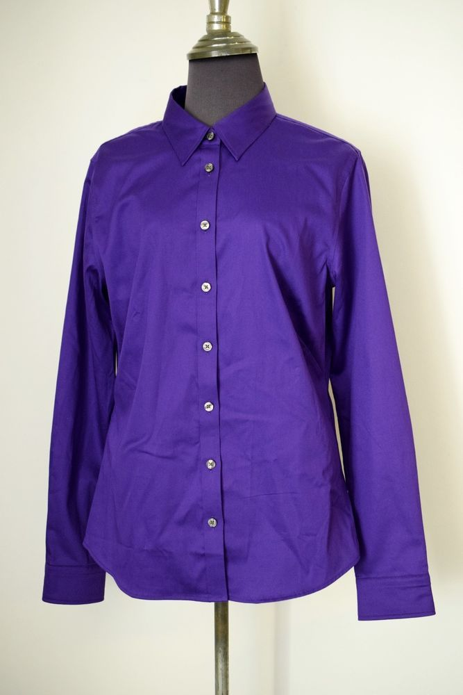 28641177 BANANA REPUBLIC Bright Purple Non-Iron Fitted Stretch Shirt Blouse @ Size  12 #BananaRepublic #ButtonDownShirt #Casual