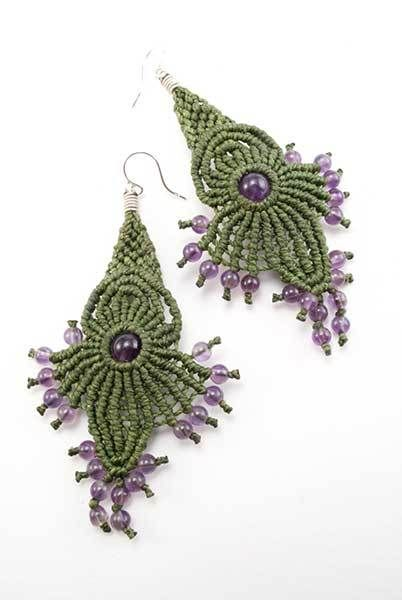 Ian Lander Jewelery : Macrame : Earrings : Amethyst