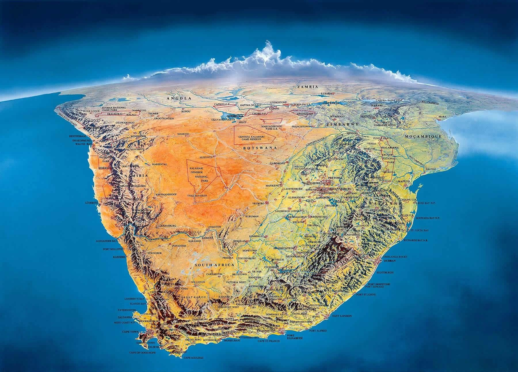 Physical Map Of South Carolina%0A Beautiful Panoramic map of South Africa