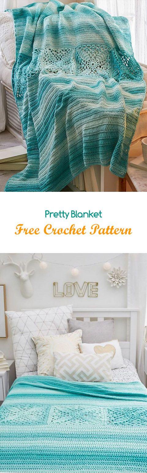 Pretty Blanket Free Crochet Pattern   Crochet   Pinterest   Croché ...
