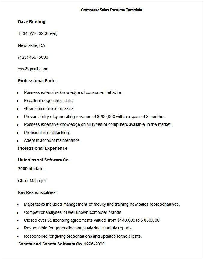 Easy Resume Sample Computer Sales Resume Template  Write Your Resume Much
