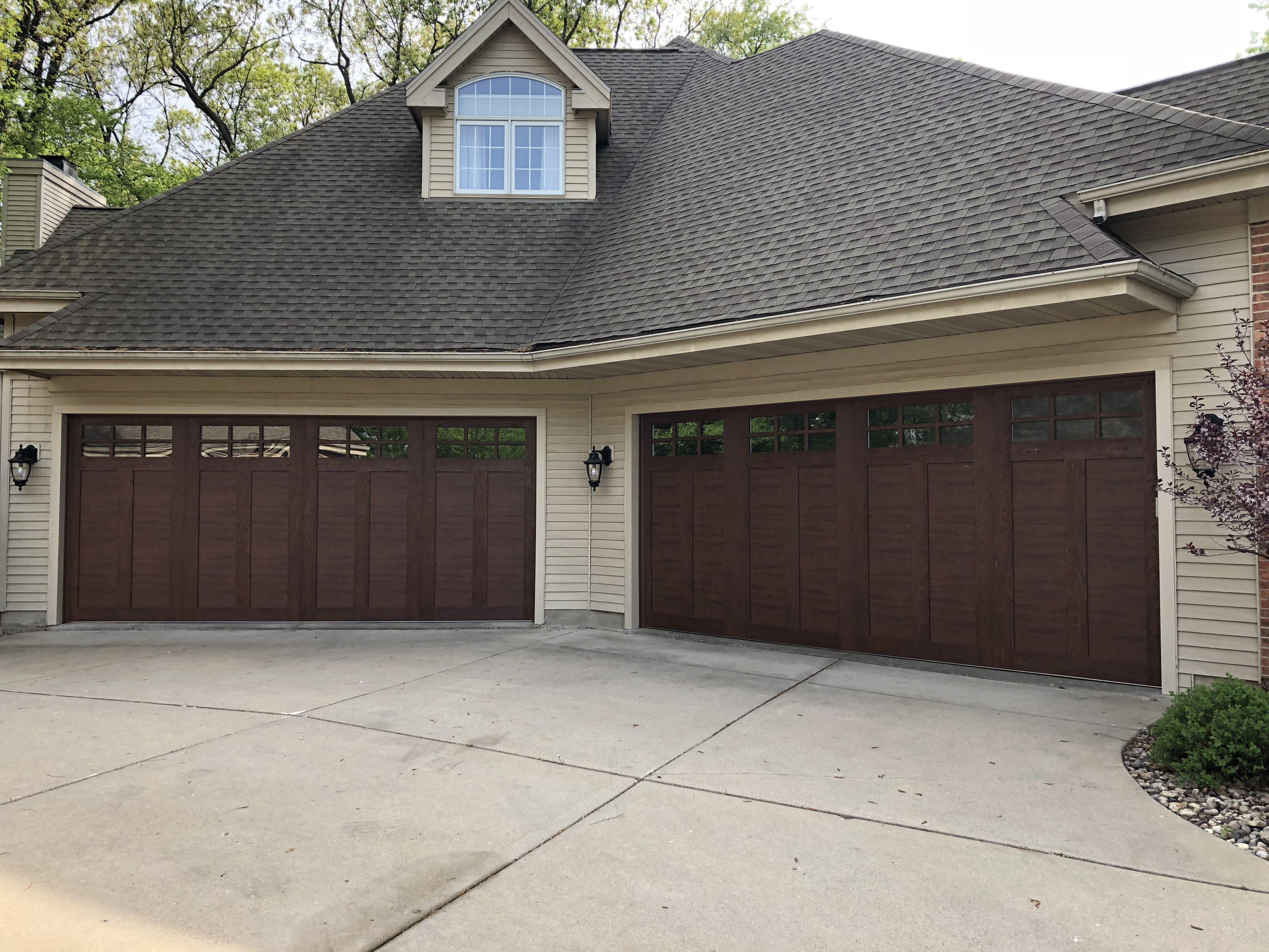 Canyon Ridge Ultra Grain Walnut Finish Stunning Design Wood Overhead Doors Garage Door Repair Service Garage Doors