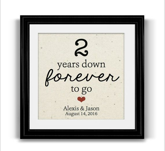 2 Year Anniversary Gift For Husband Wife Personalized Framed Cotton Print Boyfriend Engagement
