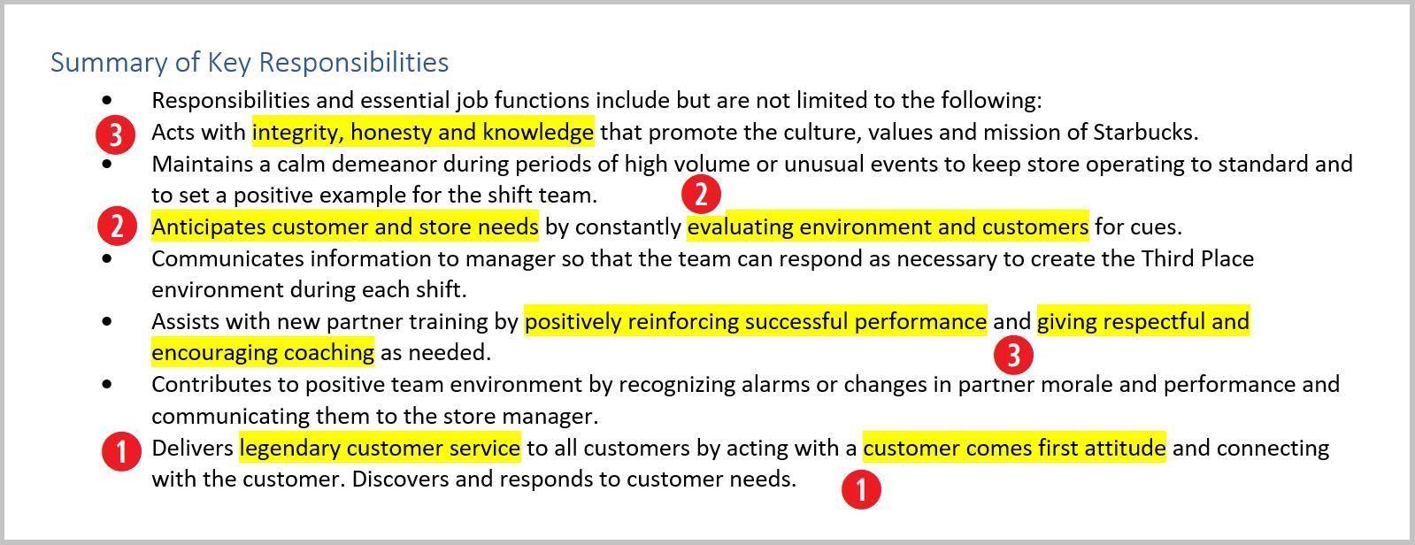 Starbucks Barista Resume Job Description Job description