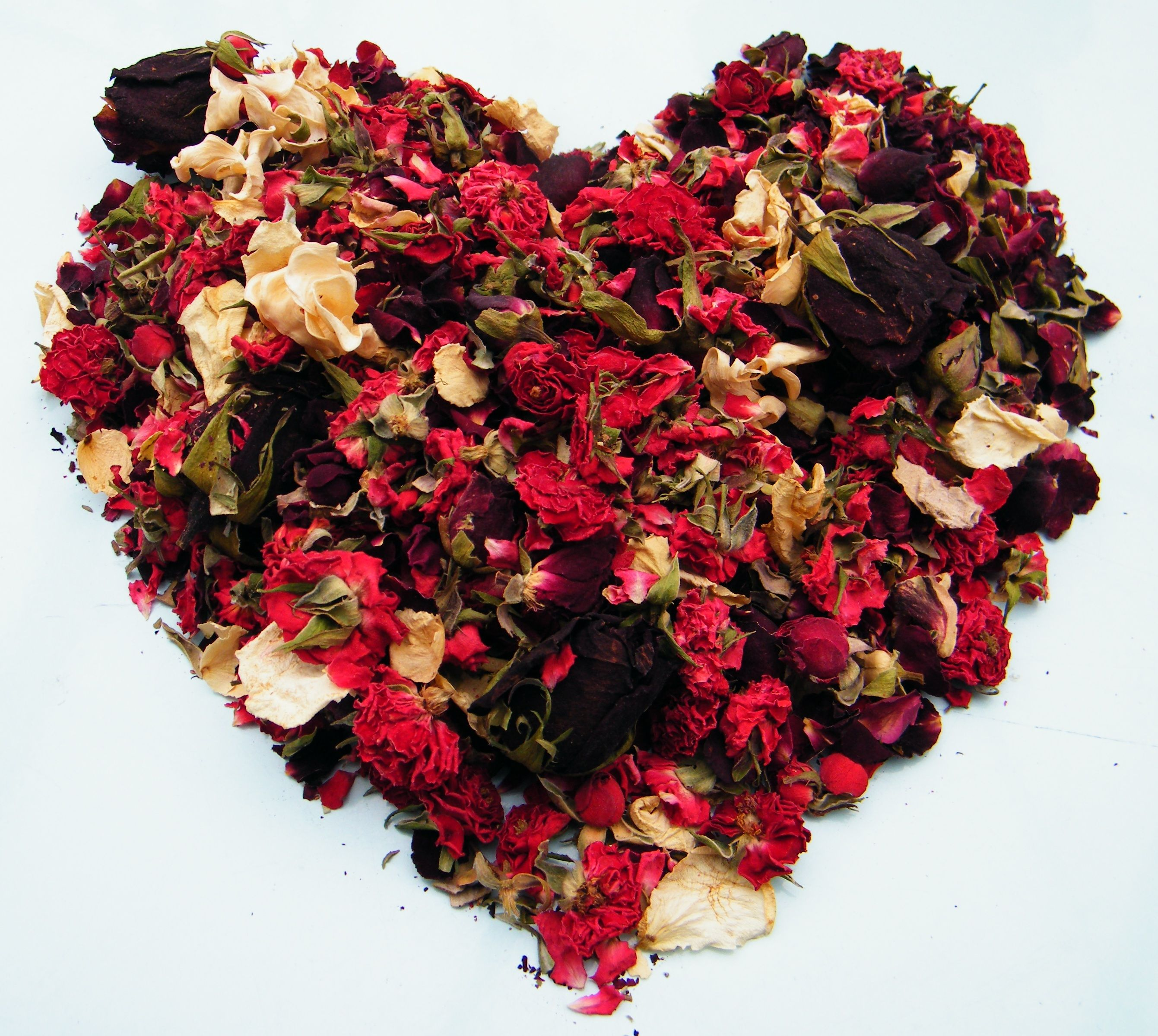 Valentine heart made from dried rose buds and petals by Ruth daisyshop.co.uk