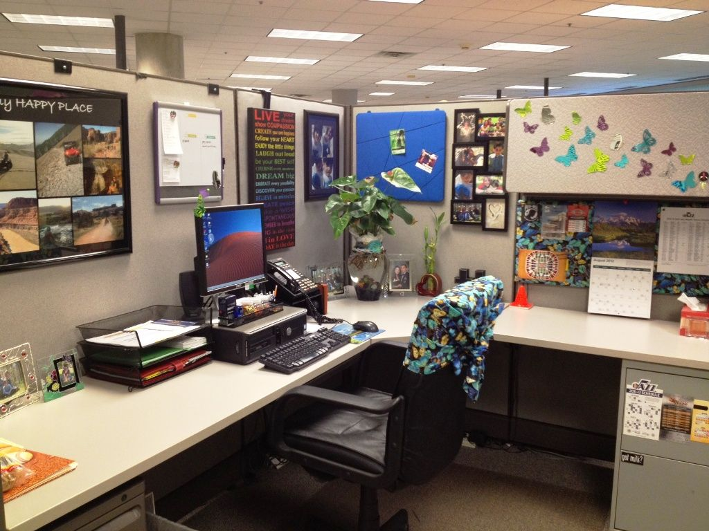 Office cubicle ideas for office with l shape desk and Cubicle desk decorating ideas
