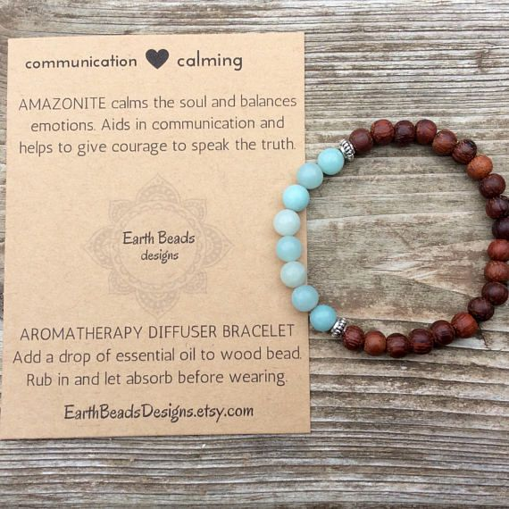 Pale Blue Amazonite And Wood Bead Mala Bracelet Calming Healing