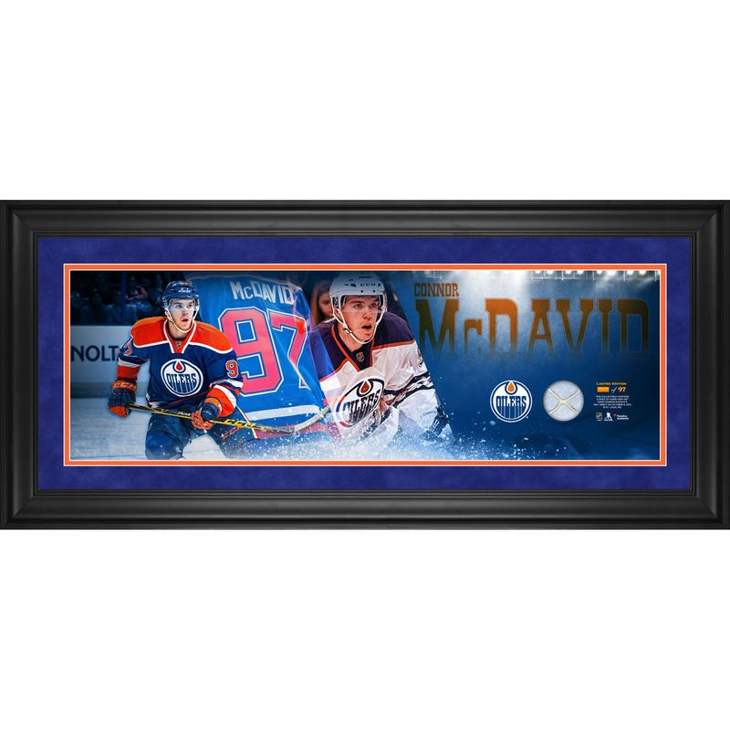 Connor Mcdavid Edmonton Oilers Fanatics Authentic Framed 10 X 30 Debut Panoramic With Game Used Net From Nhl Debut Limited Edition Of Edmonton Oilers Connor Mcdavid Nhl