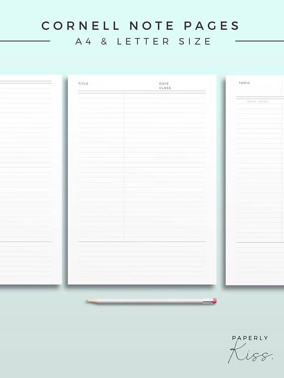 Cornell Note Template, Printable Note Inserts, Productivity Study