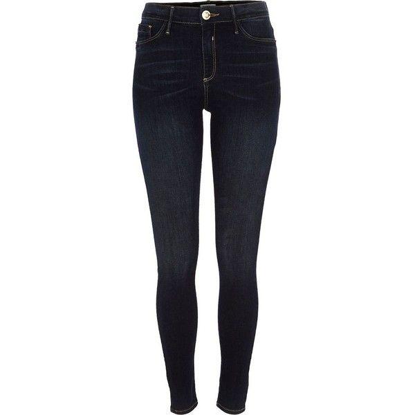 River Island Dark vintage wash Molly jeggings ($80) ❤ liked on Polyvore featuring pants, leggings, bottoms, jeans, jeggings, women, river island, blue jeggings, zip pants y tall leggings
