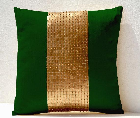 throw pillows emerald green gold color