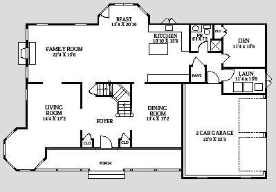 River Vale New home Victorian Farm House 1st floor plan home