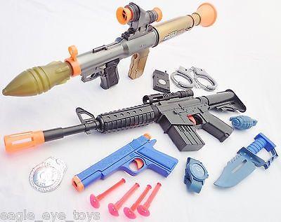 3x Toy Guns Electronic Toy Bazooka M4 Machine Gun 9MM Dart Pistol Toy Knife  Set   Knife sets