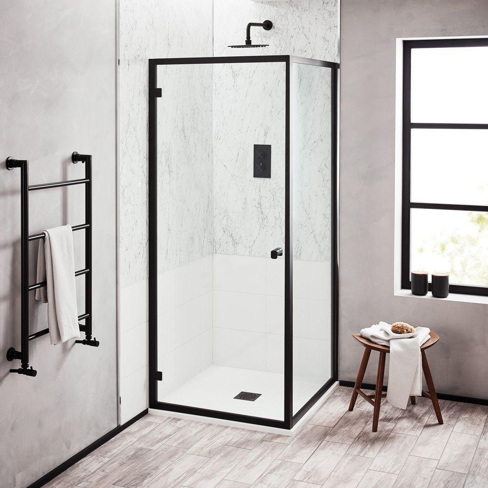 Turin Matt Black 1000 X 800mm Sliding Door Shower Enclosure Pearlstone Tray Victorian Plumbing Uk In 2020 Shower Enclosure Black Shower Sliding Doors