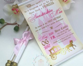 Royal Disney Princess Scroll Invitation Birthday Wedding Invitation