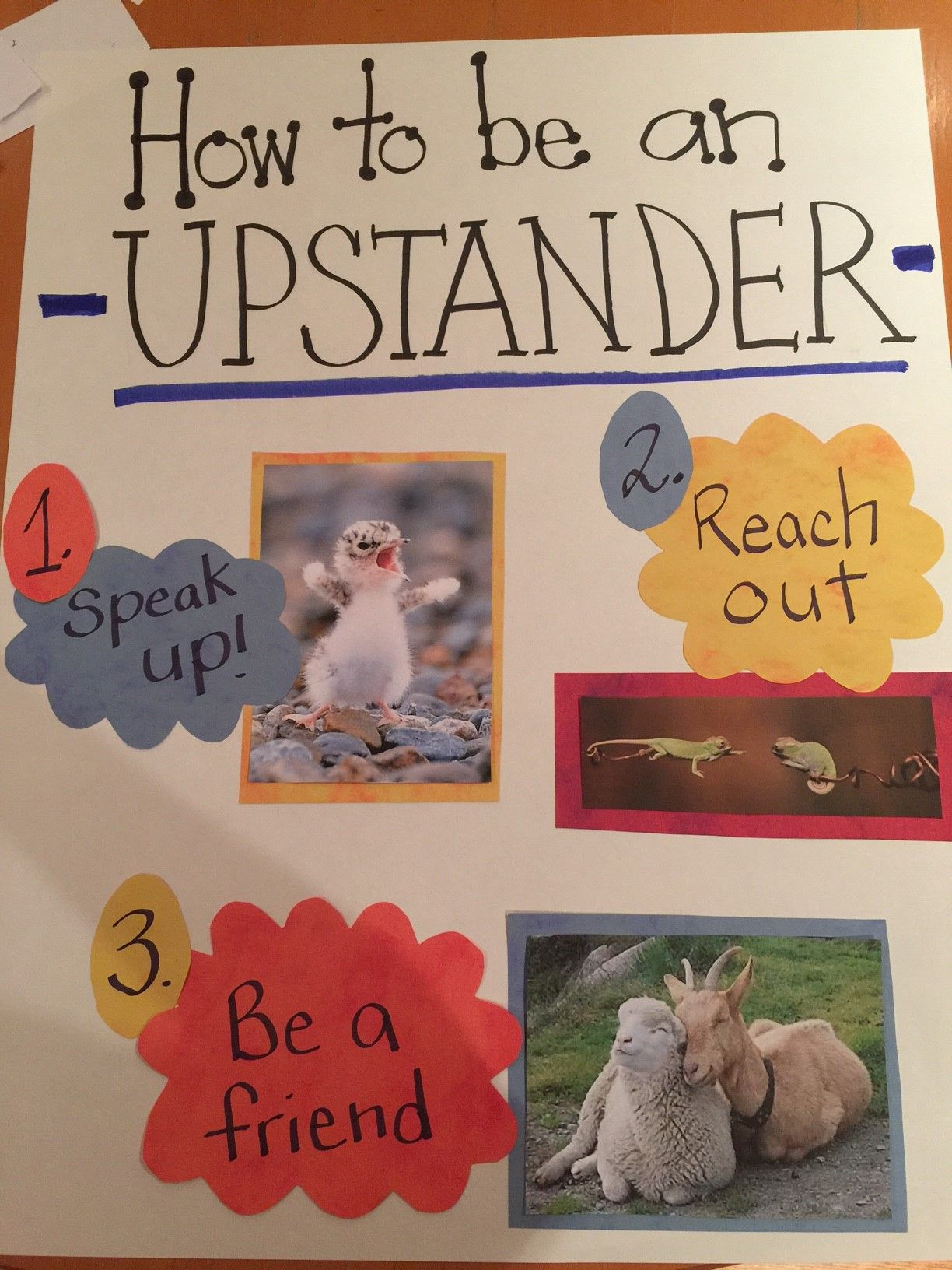 Upstander Poster Made By Lexington Volunteers For The Say Something Lesson