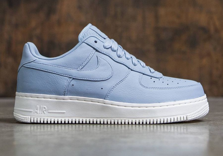 chaussure-nikelab-air-force-1-low-premium-blue-grey-cuir ...