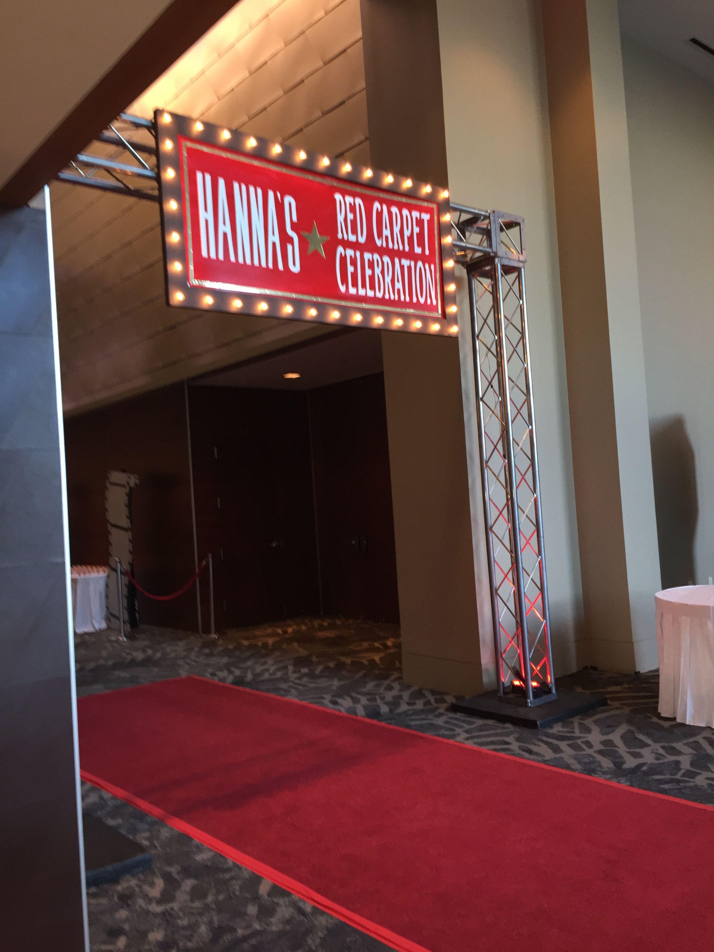Custom signage for red carpet entry decor Hollywood