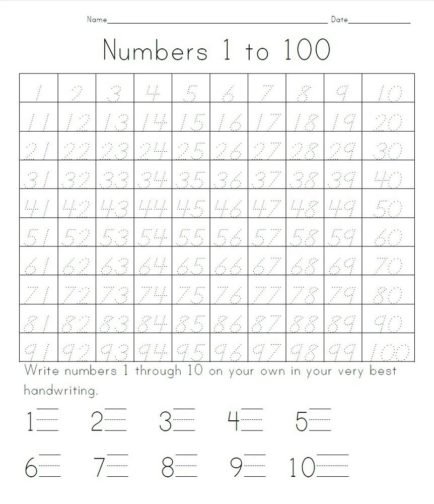 Trace Number Worksheets 1 100 Writing Numbers Numbers 1 100 Tracing Worksheets Free Practice writing numbers 100