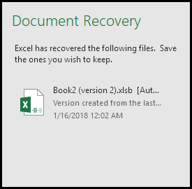 Auto Recovery Pane For Unsaved Files Excel Recover Workbook