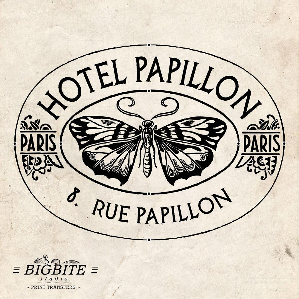 Water Decal Print Transfer To Furniture Wood Or Paper Vintage French Advert Hotel Papillon 007 PrintingVintage Graphic DesignVintage