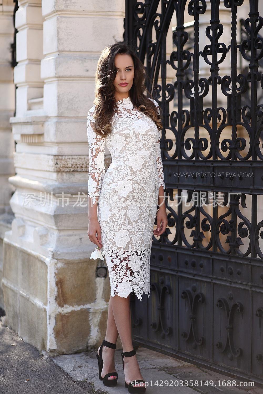 2016 Summer Women White Lace Dresses Bodycon Floral Crochet Lace Long Sleeve Midi Elegant Sheath Pencil P Lace Dress Floral Lace Bodycon Dress Ivory Lace Dress [ 1500 x 1000 Pixel ]