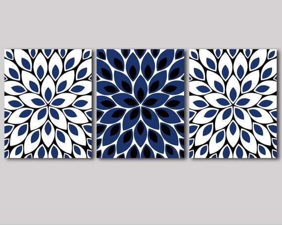 Navy blue and white, black wall art, decor, flower