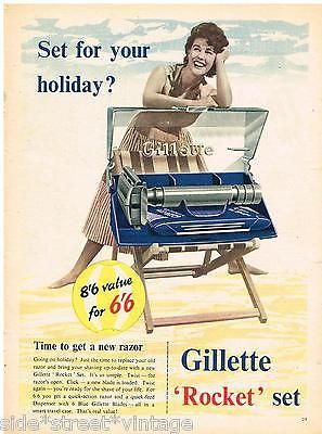 Original GILLETTE 'ROCKET' SET RAZOR AD RETRO SHAVING 1950 ...