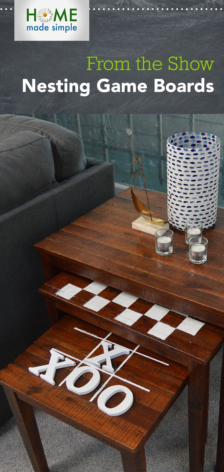 Jazz up family game night by turning nesting tables into custom game boards for more diy projects watch home made simple saturdays 9am 8c on own