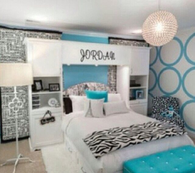 Black & White, Teal, Bedroom, Cute, Home Decor.