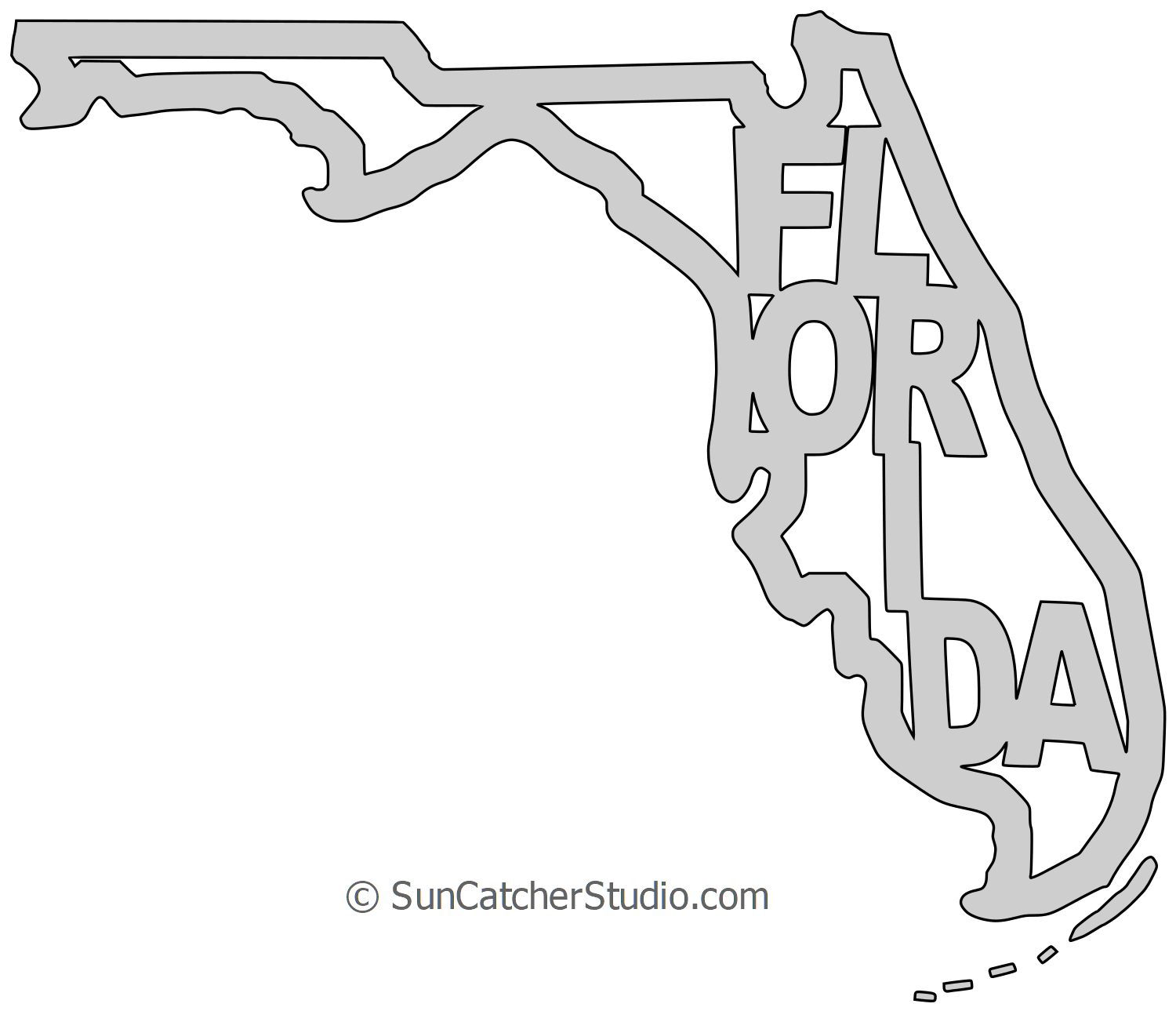 Florida Map Outline Printable State Shape Stencil Pattern