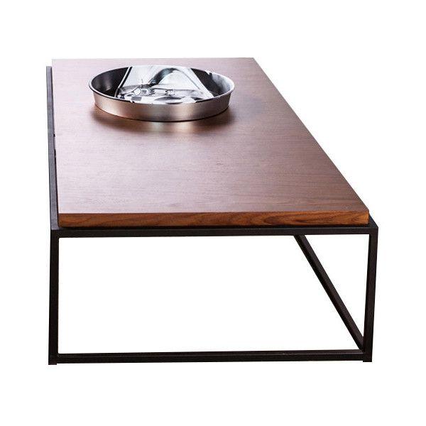 Modloft Bedford Dark Teak On Black Base Coffee Table (1,170 CAD) ❤ Liked On