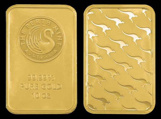 Perth Mint Gold Bar 10 Oz Perth Mint Kangaroo Gold Bar Actual Bar Size 58mm X 37mm Gold Bullion Bars Buy Gold And Silver American Eagle Gold Coin