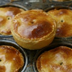 Economical and tasty English pork pies made with pork sausage and apple.
