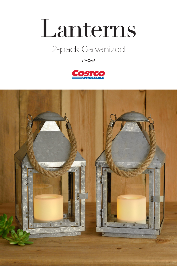 This Charming Galvanized Metal Lantern With Nautical Rope Handle Is As Elegant As It Is Versatile Metal Lanterns Candle Lanterns Outdoor Living Patio