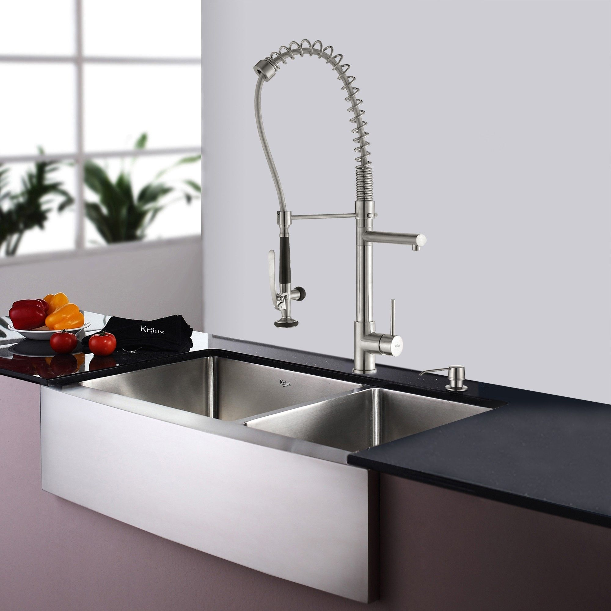 Kitchen faucet with handspray stainless steel color latulu