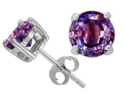 Original Star K(tm) Round 7mm Simulated Alexandrite Earring Studs in 925 Sterling Silver
