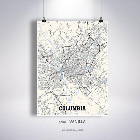Columbia Map Print, Columbia City Map, South Carolina SC USA Map ...
