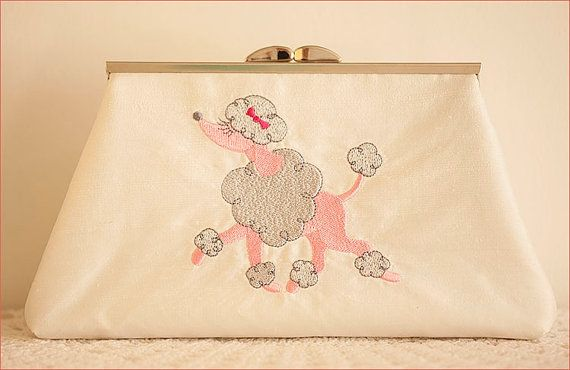 Embroidered Poodle Dog on Silk Clutch Purse by CrystalMoonCat, $95.00