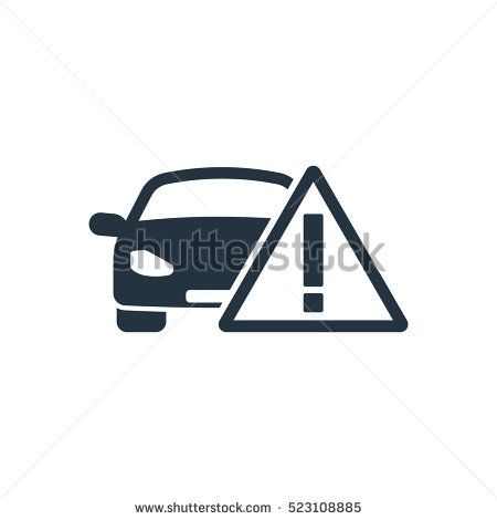 car caution, isolated icon on white background, auto service, car