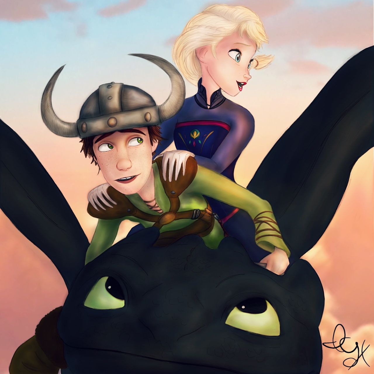 15 year old hiccup giving 16 year old elsa a sunset ride